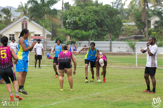 Players, Referee and Locals at The Fijian Cup