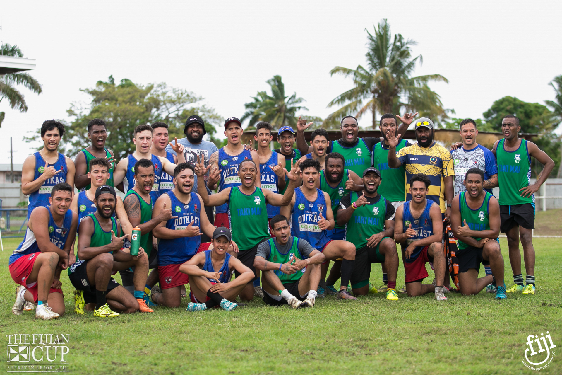 Players and Local Mens Team at The Fijian Cup